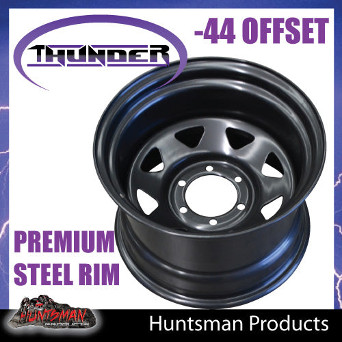 15x10 6 Stud Black Thunder Steel Wheel Rim -44 Offset. 6/139.7 PCD