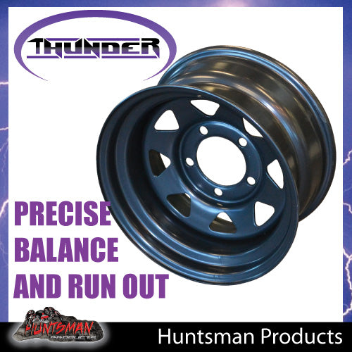 16x8 5/150 PCD Black thunder Steel Wheel Rim -25 Offset