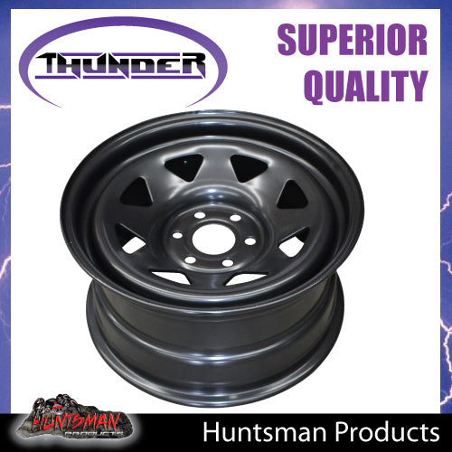 17X8 Sunraysia 6/114.3 PCD +20 Offset Black Thunder Steel Rim D40 NP300