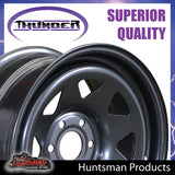 16X8 Sunraysia 6/114.3 PCD +20 Offset Black Thunder Steel Rim D40 NP300