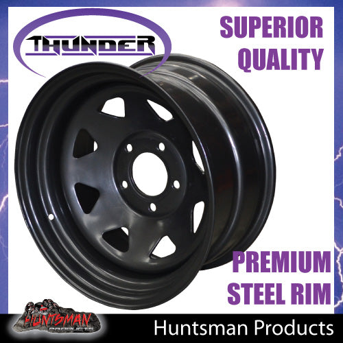17x8 5 Stud Black Thunder Jeep Steel Wheel Rim 5/127 PCD, -25 Offset.