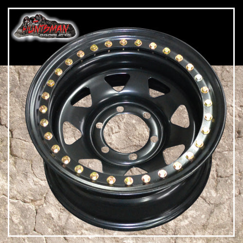 15X8 Beadlock 6 STUD BLACK STEEL WHEEL -23 OFFSET