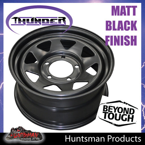 17x8 5 Stud Black Thunder Steel Rim 5/150, +30 suits Landcruiser 100/200 Series Pattern