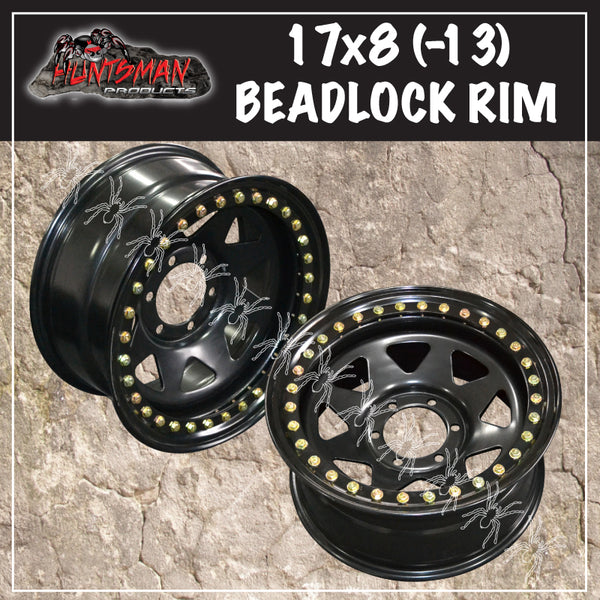 17X8 Beadlock 6 STUD BLACK STEEL WHEEL -13 OFFSET