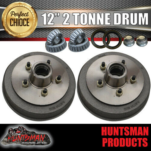 "2x 12"" 2 Tonne 5 Stud Electric Trailer Brake Drums & Bearings 30210 & 15123"
