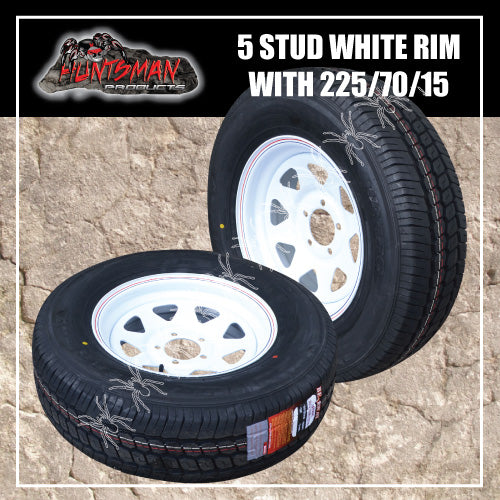 "15"" WHITE FORD PATTERN STEEL WHEEL & 225/70R15C. 225 70 15"