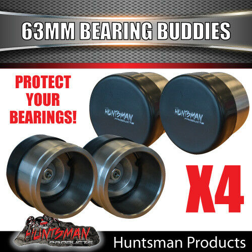 4x 63mm STAINLESS STEEL TRAILER BEARING PROTECTORS. BEARING BUDDYS