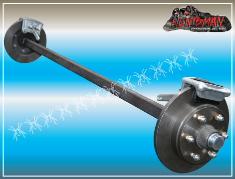 "12"" 6 stud MECHANICAL DISC BRAKED TRAILER AXLE 4MM SQUARE. 1400KG"