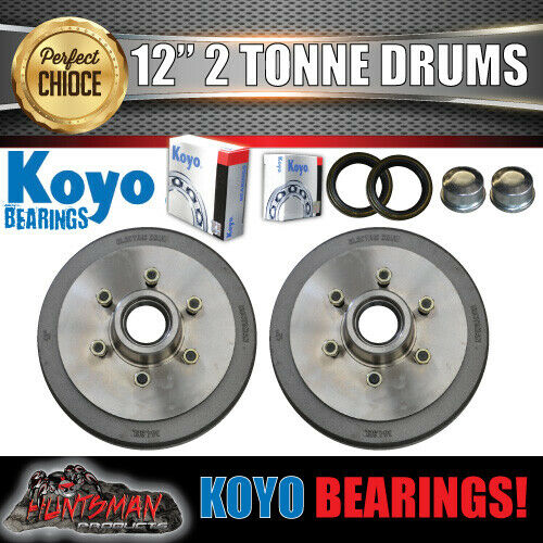 "2x 12"" 2 Tonne 6 Stud Electric Trailer Brake Drums & Japanese KOYO Bearings"