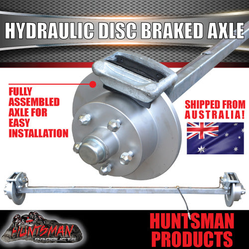 "Galvanised 40mm Square Hydraulic Disc Braked Axle. 1000Kg rated 63""-77"""