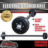 ELECTRIC BRAKED TRAILER AXLE 40MM SQUARE COMPLETE. 1000KG