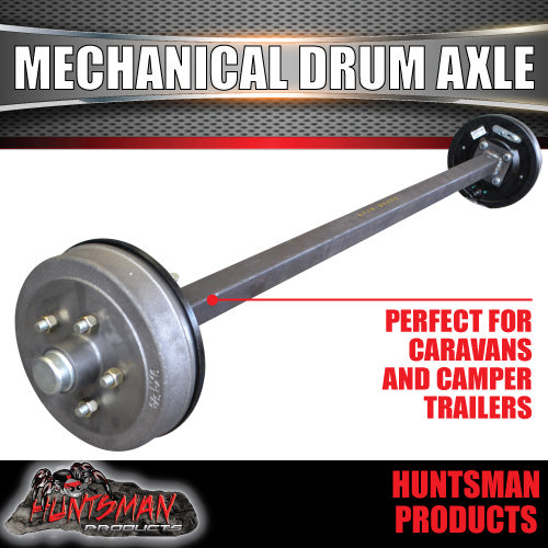 "40mm Square Mechanical Drum Braked Axle. 1000Kg rated 63""-77"""
