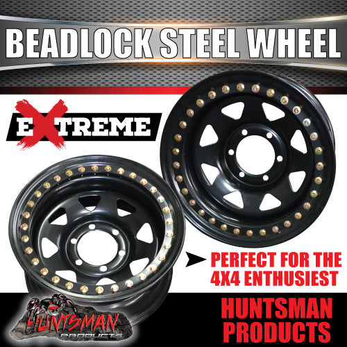 16X8 Beadlock 6 STUD BLACK STEEL WHEEL -23 OFFSET