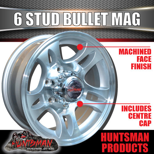 16x6 6 Stud Bullet Alloy Mag Wheel.