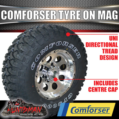 15X8 GT ALLOY 6/139.7 PCD & 235/75R15 COMFORSER MUD TYRE. 235 75 15