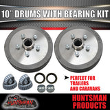 "2X Trailer 10"" Drums Suit 5 Stud Landcruiser. 5/150 PCD & S/L (Ford) Bearings"