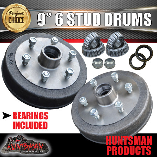"2X Trailer 9"" Drums Suit 6 Stud Landcruiser. 6/139.7 PCD & S/L Bearing"