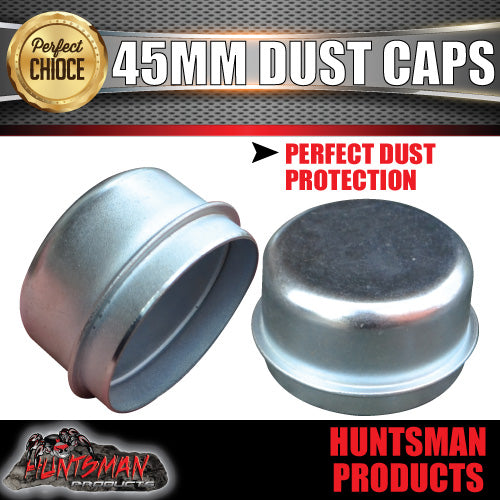 2x steel 45mm standard trailer hub dust caps.