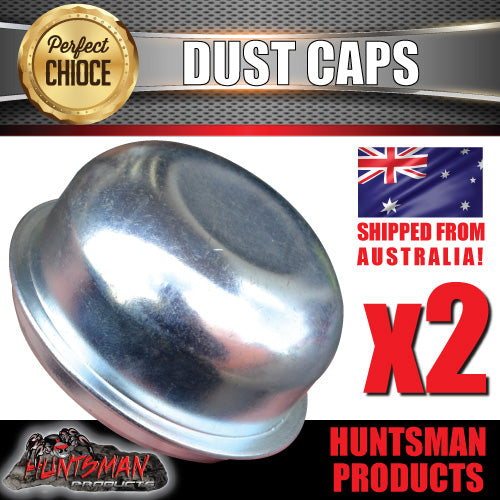 2x steel 76.5mm 3 tonne trailer hub dust caps.