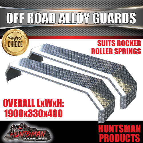 TANDEM 330MM WIDE GUARDS - OFF ROAD - ALLOY CHEQUER - R/ROLLER SPRINGS