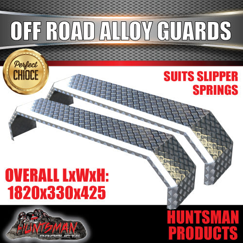 TANDEM 330MM WIDE GUARDS - OFF ROAD  - ALLOY CHEQUER - SLIPPER SPRINGS
