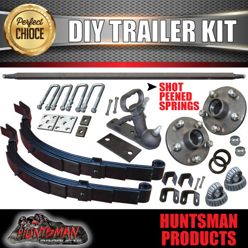 "1000Kg DIY Trailer Kit, Solid Axle 60-79"", S.G Cast Hubs, 6 Leaf Slipper Springs"