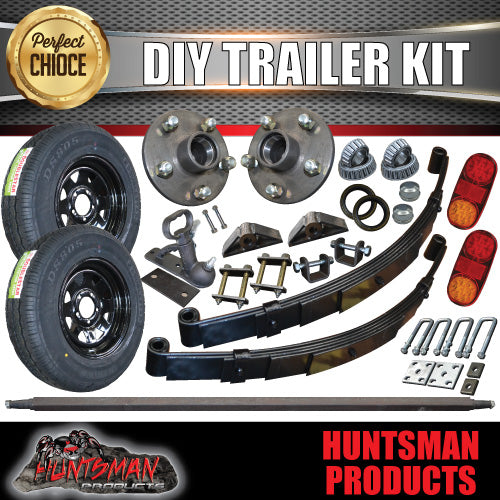 "EYE TO EYE DIY SINGLE AXLE TRAILER KIT, WHEELS AND TYRES. 1000KG.  81"" - 96"""