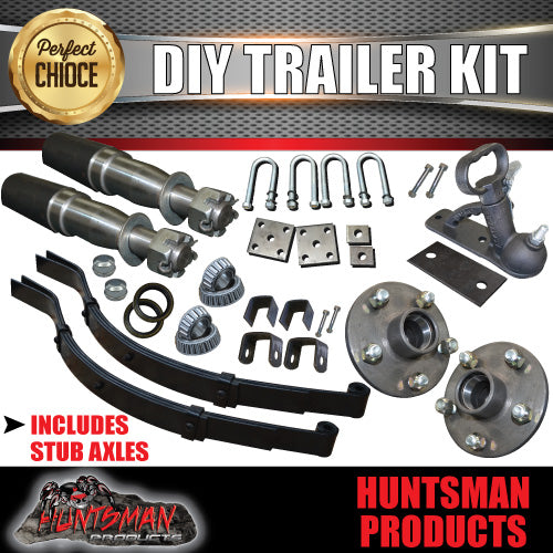 DIY SINGLE AXLE TRAILER KIT. 750KG RATED. STUB AXLES.