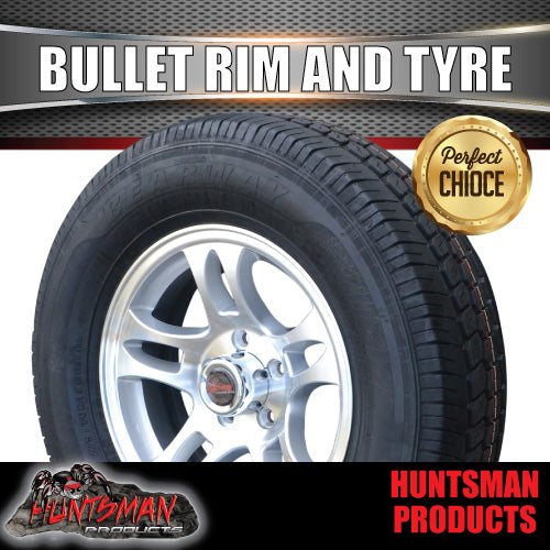 "15"" Ford Pattern Bullet Alloy & 195R15C Tyre. 195 15"