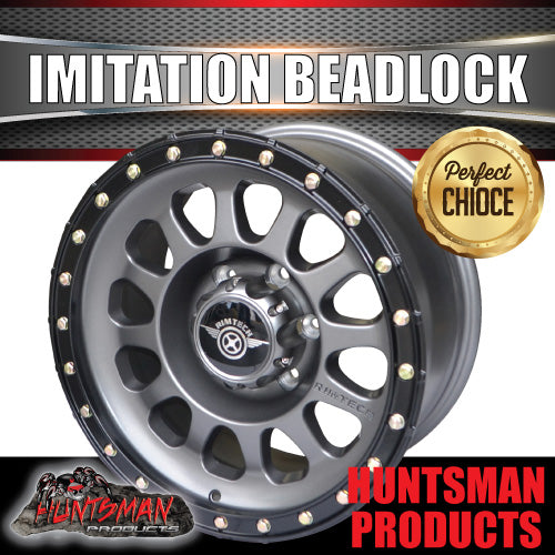 17x8.5 Imitation Beadlock Alloy Mag Wheel 6/139.7 Titanium finish