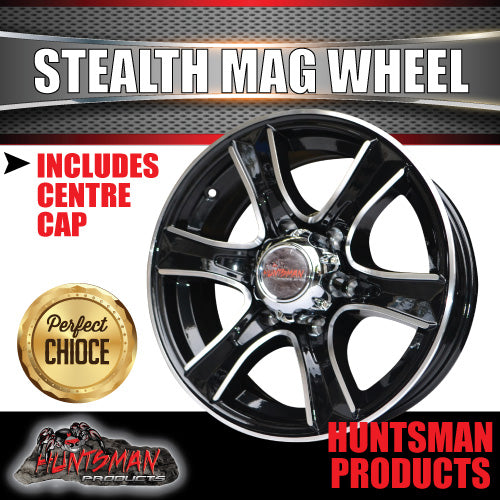 15x6 6 Stud Stealth Alloy Mag Wheel.