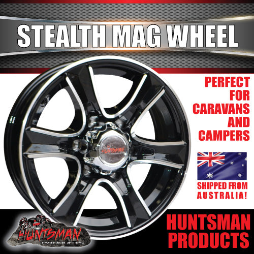 16x6 6 Stud Stealth Alloy Mag Wheel.
