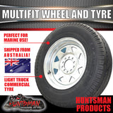 14x6 Galvanised multi fit Rim & 185R14C Tyre: suits Ht/Ford. 185 14