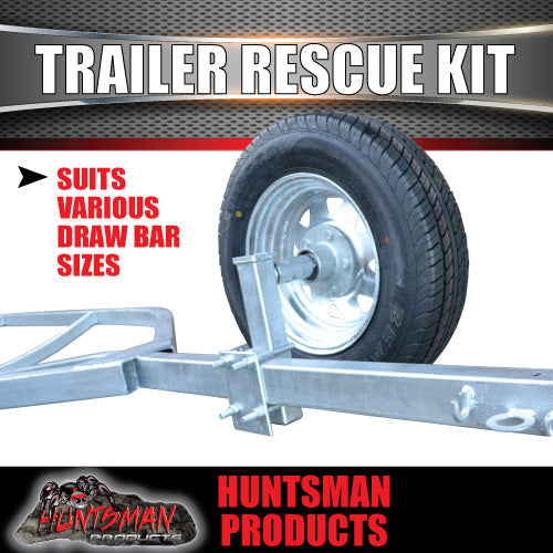 Trailer Rescue Kit , Spare Wheel, 155r13 Tyre & Holder inc hub & LM bearings