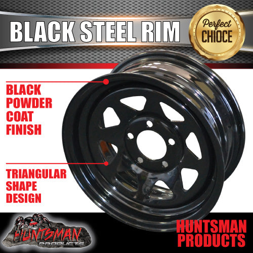 "15x6"" BLACK POWDERCOATED TRAILER RIM: SUITS FORD PATTERN"