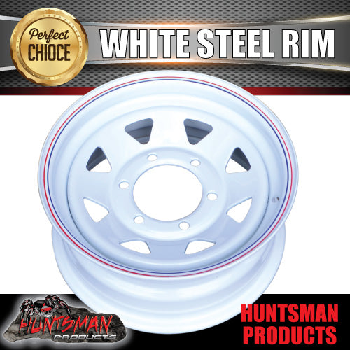 "15x6"" WHITE POWDERCOATED TRAILER RIM- 6 STUD"