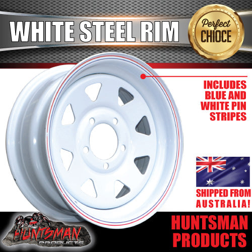 "15x6"" WHITE POWDERCOATED TRAILER RIM: SUITS FORD PATTERN"