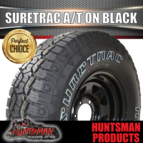 "235/85X16 Suretrac A/T Tyre on16"" Black steel rim. 235 85 16"