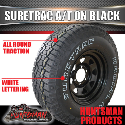 "265/75R16 Suretrac Sierra A/T Tyre on 16"" Black Steel Rim. 265 75 16"