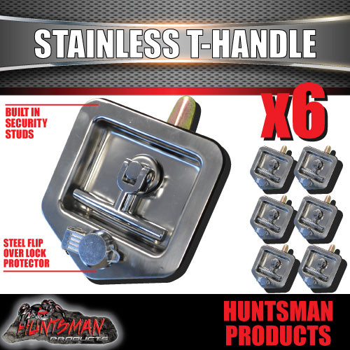 X6 T Handle Locks With Studs. Stainless Steel, Flush Mount,