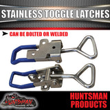 x2 LARGE STAINLESS STEEL TOGGLE / OVER CENTRE LATCH.