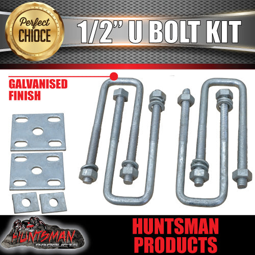 "40mm x 130mm Square 1/2"" Galvanised U Bolt Kit"