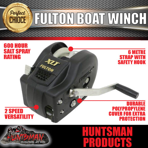 Fulton 3200Lb (1454kg) 2 Speed Winch 20' (6m) Strap. Black Cover