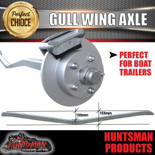 1400Kg Galvanised Hydraulic Disc Gullwing Boat Trailer Axle