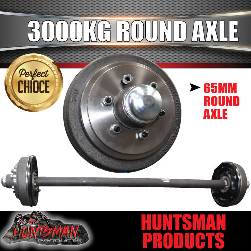 "3000KG Axle. 12"" Electric Braked 65mm Round. L/C Pattern"