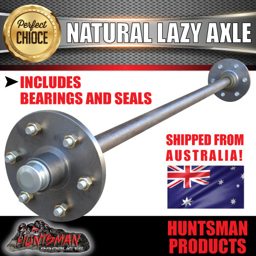 "Lazy 6 stud Trailer Axle 39mm Round Natural 60-79"" Axles 750KG"