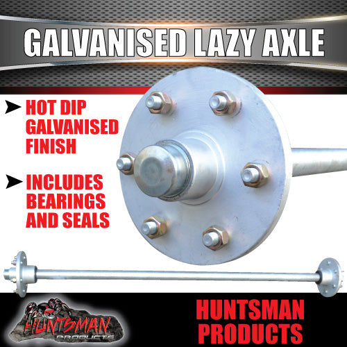 "Lazy 6 Stud Trailer Axle 39mm Round Galvanised 60-77"" Axles 750KG"