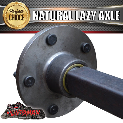 LAZY 5 STUD TRAILER AXLE 40MM SQUARE COMPLETE. 81-96
