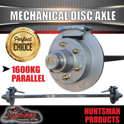 50mm square 1600Kg Mechanical Disc L/C Pattern Trailer Caravan Braked Solid Axle