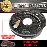 "x2 10"" ELECTRIC TRAILER DRUM BRAKE BACKING PLATES. WITH HANDBRAKE LEVERS."